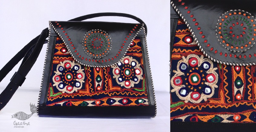 Buy online Leather bag ~ Rabari Embroidered handbags- Black