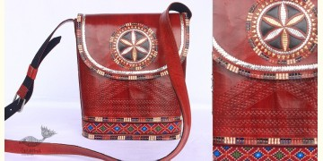 Be Nomadic | Kutchi Leather Sling Bag With Rabari Embroidery - 7