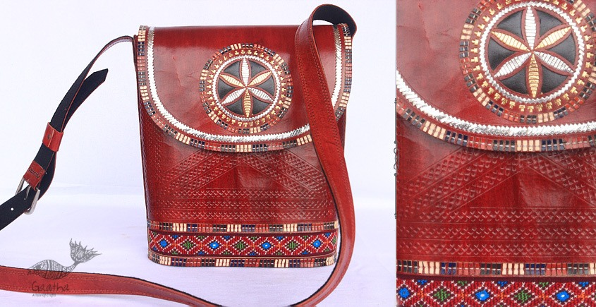 Buy online Leather bag ~ Rabari Embroidered handbags in Red Color
