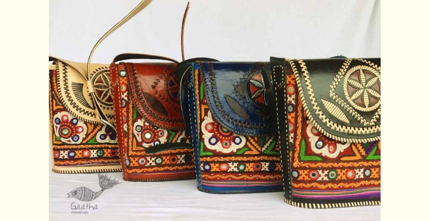 Buy online Leather bag ~ Rabari Embroidered Sling bag