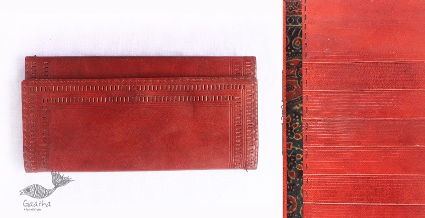 Buy online Leather Kutchi Leather Purse With Punch Work - red