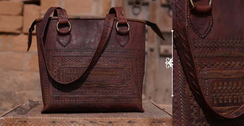 Tunes From the Duens ⌘  Leather Handbag With Jatt Embroidery ⌘ 1