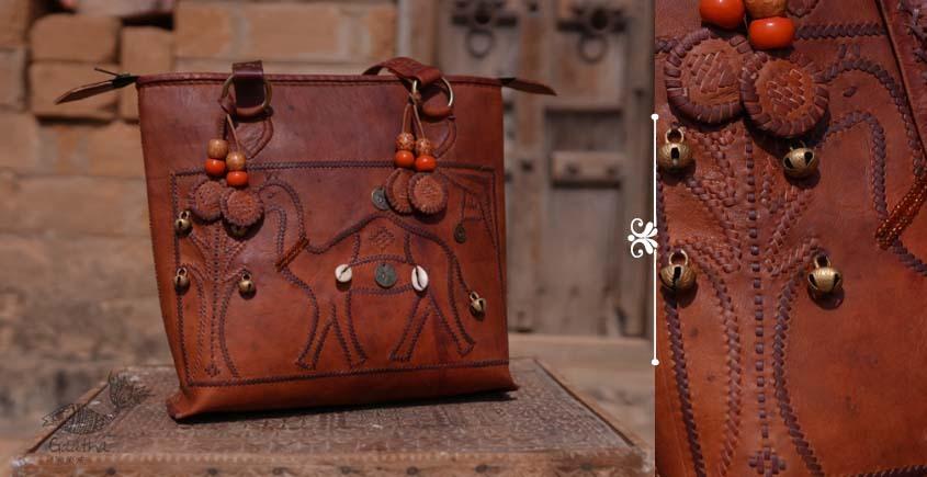 Buy online Leather bag ~ Jatt Embroidered handbags-kodi with ghughari