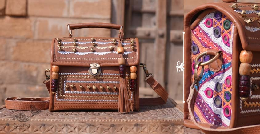 Tunes From the Duens ⌘  Leather Handbag With Kutchi Embroidery ⌘ 6