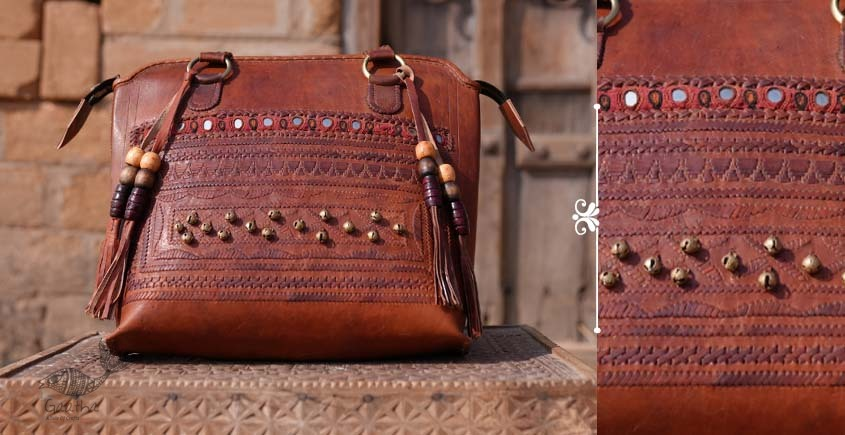Tunes From the Duens ⌘  Leather Handbag With Jatt Embroidery ⌘ 12