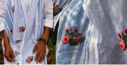 Oja |  Hand Embroidered Organic Cotton Stole ~ 13
