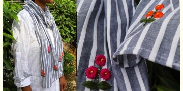 Oja |  Hand Embroidered Organic Cotton Stole ~ 14