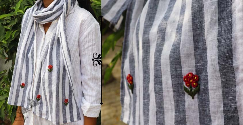 Oja |  Hand Embroidered Organic Cotton Stole ~ 16
