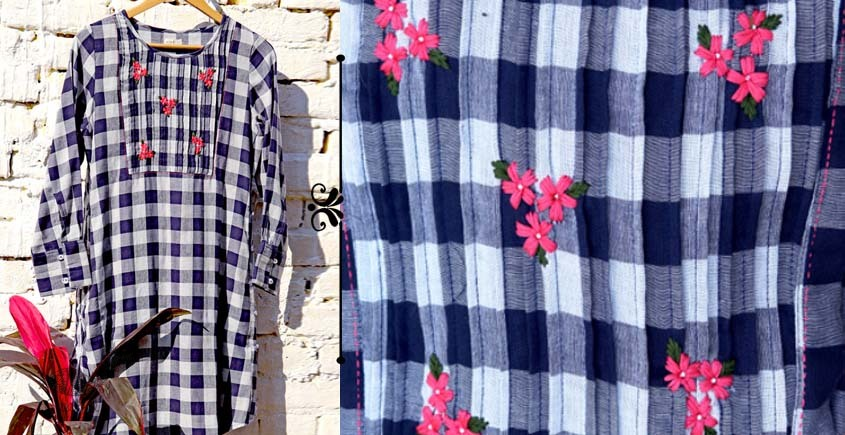 Oja | Cotton Dress with Hand embroidery ~ J