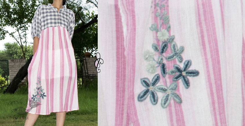 Oja | Cotton Loose Fit Dress with Hand embroidery ~ G