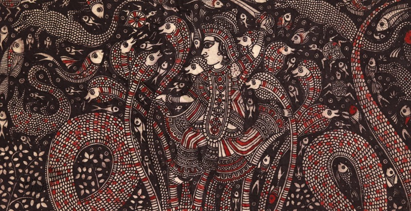 Sacred cloth of the Goddess - Krishna with Kalia ( 15' X 18' )
