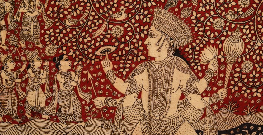 Sacred cloth of the Goddess - Matsya Avtar ( 38 X 29 )