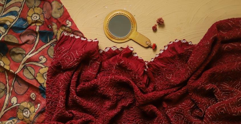 संधि  ⊱ Kalamkari Bandhni ⊱ Munga Silk ⊱ Dupatta ⊱ 9