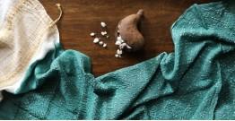 Ada . अदा | Handloom Cotton . Bamboo Silk | Bandhani Stole ( Sea Green ) - 8