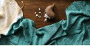 Shop online Bamboo silk stole with tie & dye work- Sea green