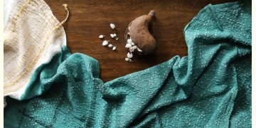 Ada . अदा | Handloom Cotton . Bamboo Silk | Bandhni Stole ( Sea Green ) - 8