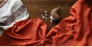 online bandhej Bamboo silk scarves with Bhujodi weaving bandhni - orange