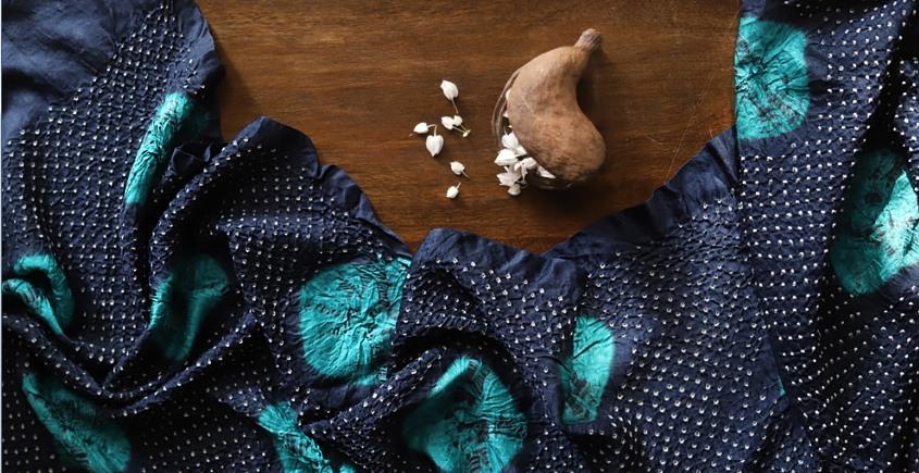 online bandhej silk scarves - blue with sky blue pattern