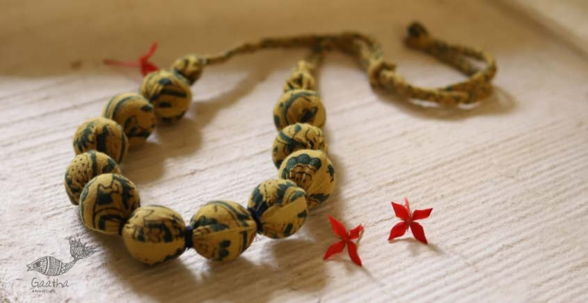 shop online handmade jewelry - Ajrakh print cotton Fabric necklace 26