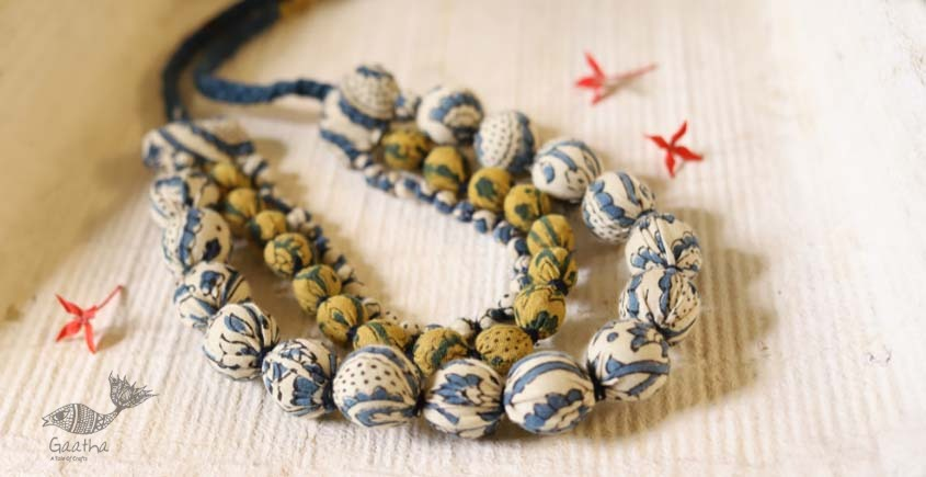 shop online handmade jewelry - Ajrakh print cotton Fabric necklace 4