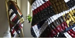 "Bird's Eye View ❣ Cotton - Embroidered Quilt (77"" x 48"") | J"