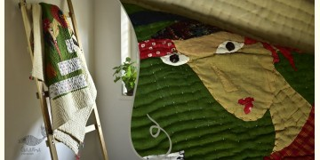 "Bird's Eye View ❣ Cotton - Applique & Embroidered Quilt (52"" x 78"") | B"