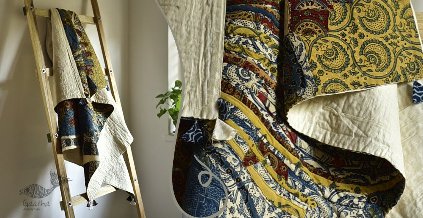 Birds Eye View ❣ Cotton - Applique & Embroidered Quilt ( 48 x 78 )| A