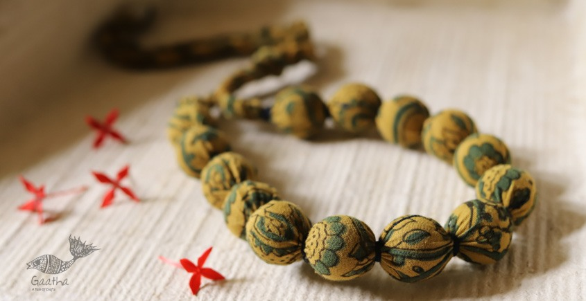 shop online handmade jewelry - Ajrakh print cotton Fabric necklace 23