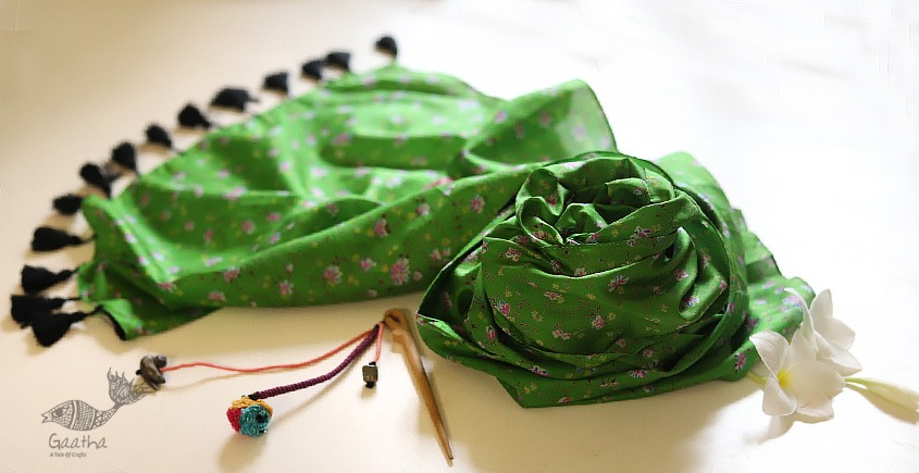 Soie ✻ Silk Stole With Wooden Hair Pin ✻ D