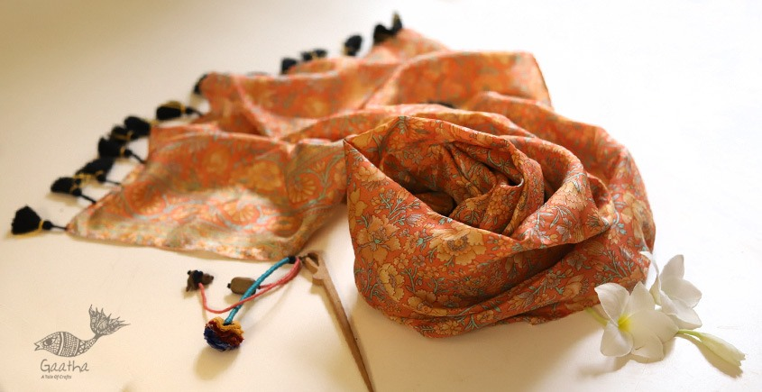 Soie ✻ Silk Stole With Wooden Hair Pin ✻ E
