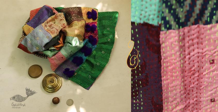 धनक ✥ Kantha Reversible Silk Stole ✥ 5