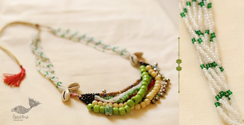 multi color bead jewelry with shell