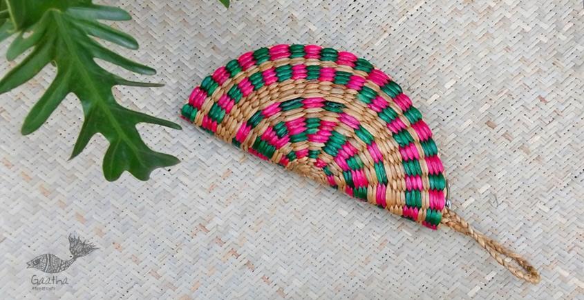 Handmade - handcrafted moon Clutch - Red Indigo Green