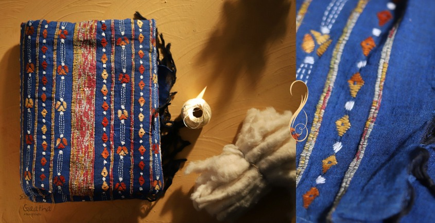 सूती ▦ Handloom Cotton Saree ~ Kantha work ~ 48