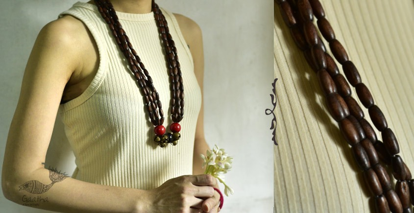 Indrani . इंद्राणी   Wooden Beads Necklace ~ 20