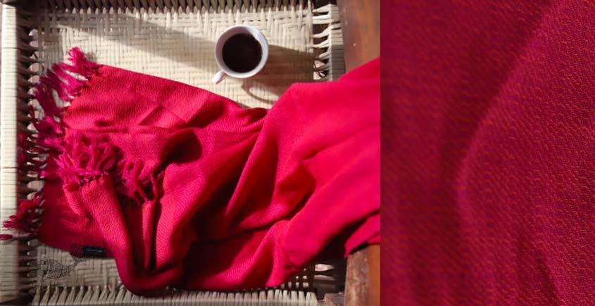 buy online handwoven red Woolen stole
