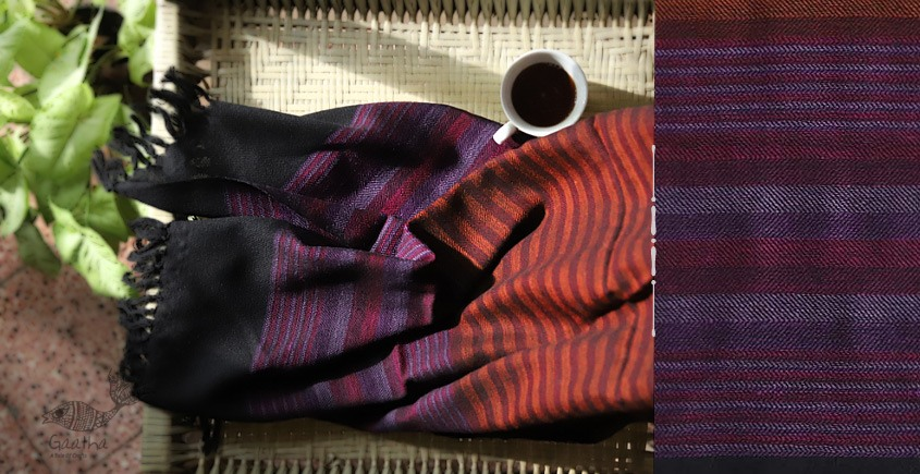 buy online handwoven Black with stripe Woolen stole