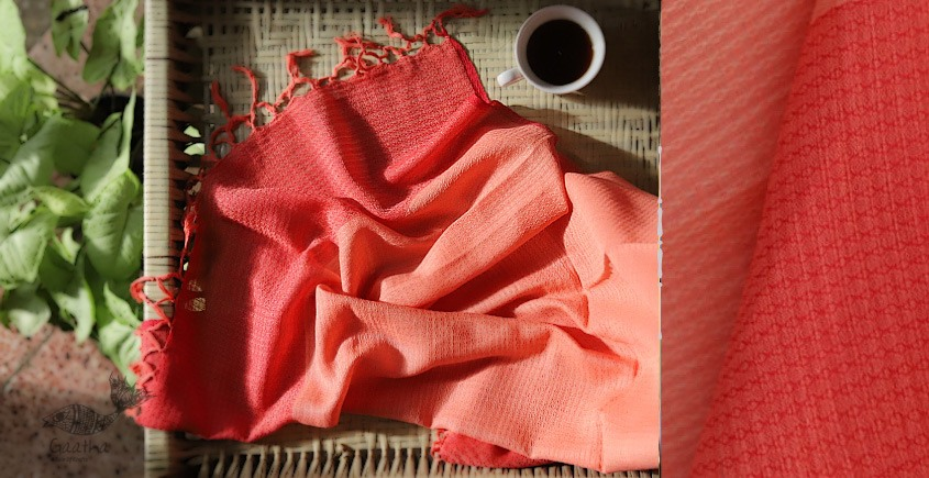 buy online handwoven Red cotton stole