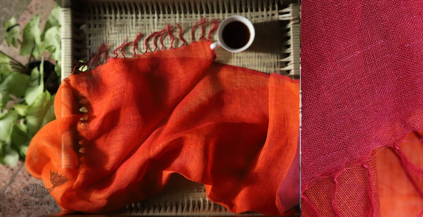 buy online handwoven Orange & Red Linen  stole
