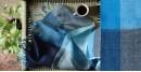 buy online handwoven Blue Big Square Linen  stole