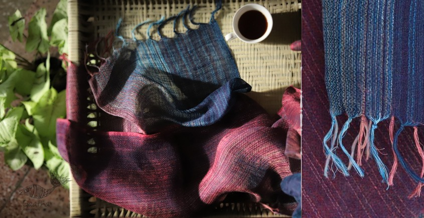buy online handwoven Blue Linen  stole