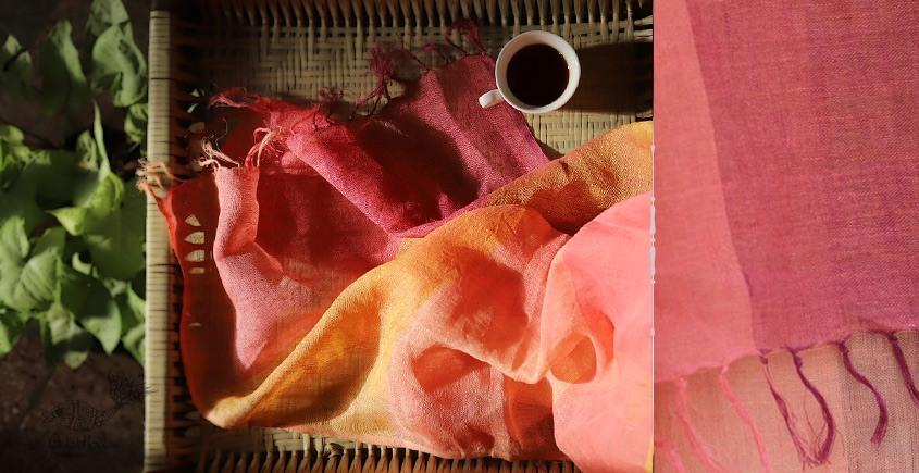 buy online handwoven Pink Linen  stole