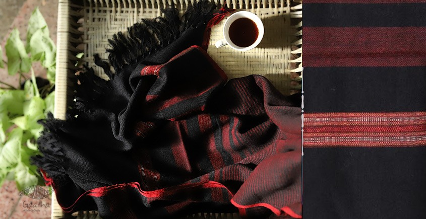 buy online handwoven Black with red lines Woolen Shawl