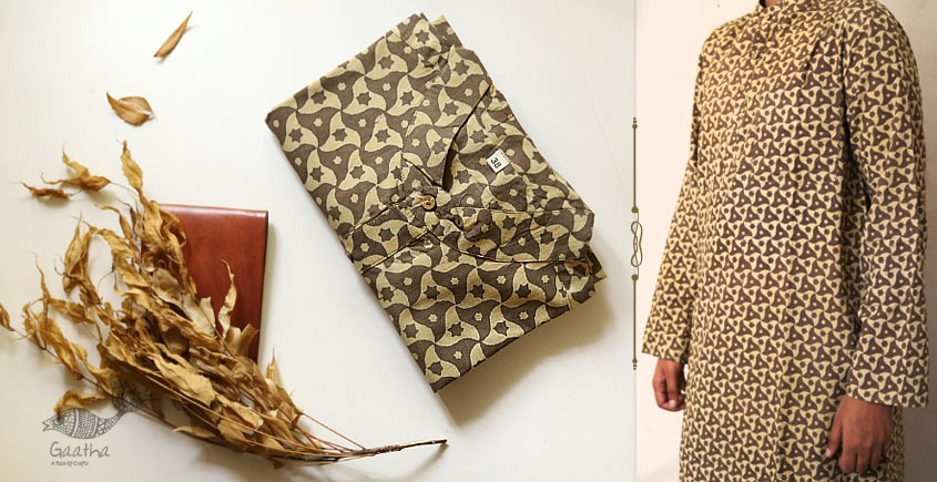 Cotton ajrakh print brown and coffee color