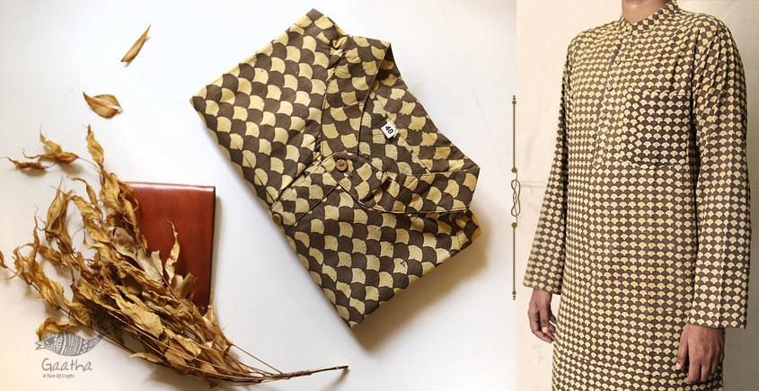 contemporary motif printed mens long kurta