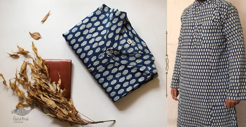 Cotton ajrakh print mens kurta