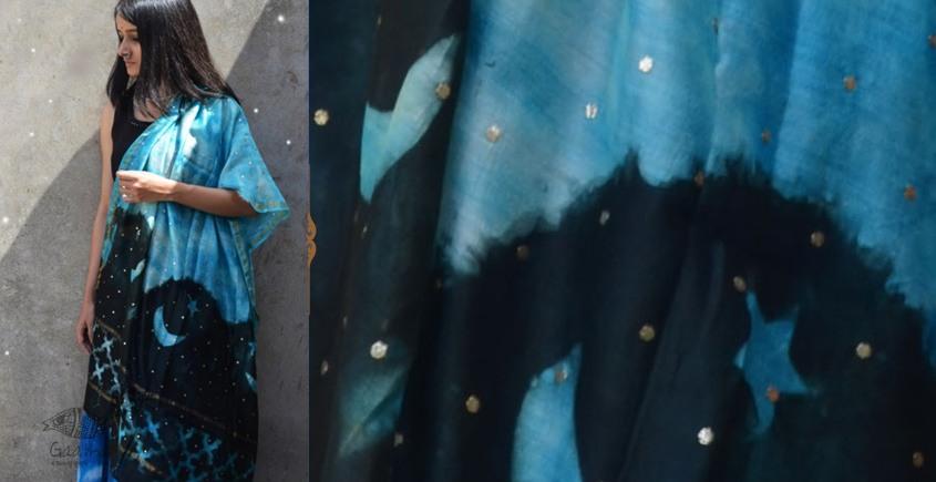 Harini ☙ Chanderi Clamp Dyed & Hand Embroidered ☙ Moon Dupatta ☙ 8