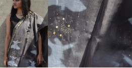 Harini ☙ Chanderi Clamp Dyed & Hand Embroidered ☙ Gray Sufi Dupatta ☙ 9