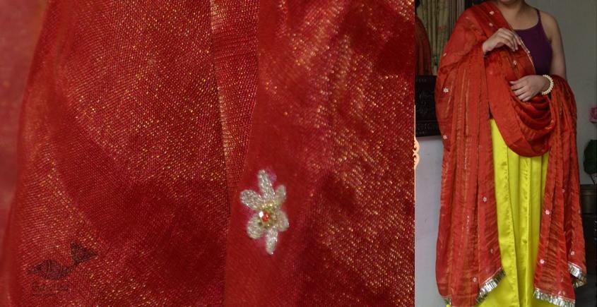 Shaahi ❂ Red & Gold tissue silk hand-embroidered Dupatta ❂ J