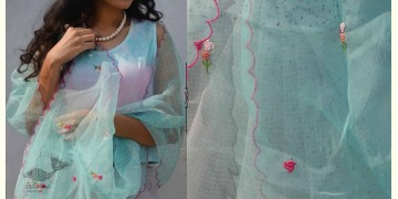 Gulshan ✿ Organza Hand Embroidered Gulaab Stole ✿ 7